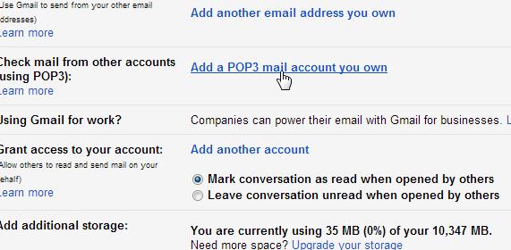 Add POP3 SMTP Gmail