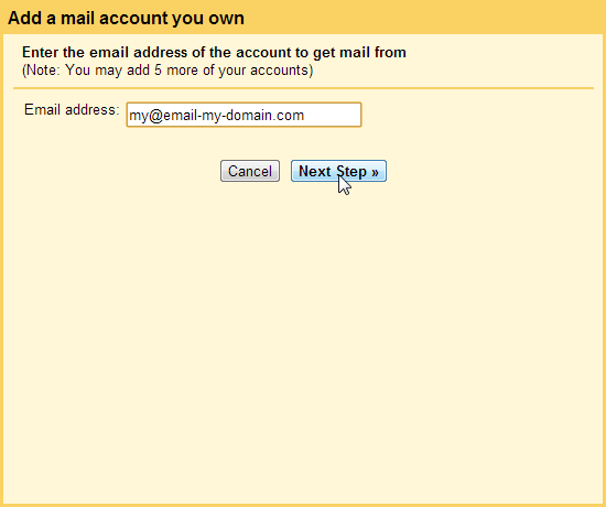 Click Next POP3 SMTP Gmail